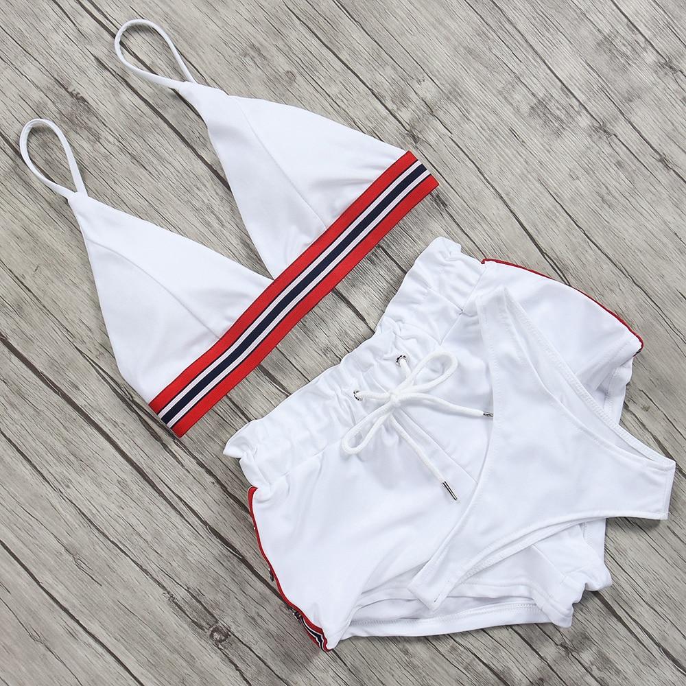 Sexy Sport Bikini Two Pieces Swimsuit T Shirt Swimwear Women Push Up Bikinis 2019 Mujer Tankini Set Biquini Traje De Bano Mujer in Bikinis Set from Sports Entertainment