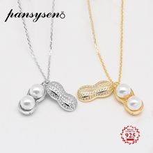 PANSYSEN Luxury Pearl Necklaces For Women Solid 925 Silver Peanut Design Pendant Necklace White Gold 2 Colors Anniversary Gifts