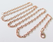 Pure 18K Rose Gold Necklace Special 2.5mm Anchor Link Chain Necklace 19.7inch Length Hallmark: Au750