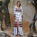Mujeres dress bohemia de la impresión floral largo manga flare dress femme de vacaciones con cuello en v sexy dress loose beach maxi dress boho vestidos