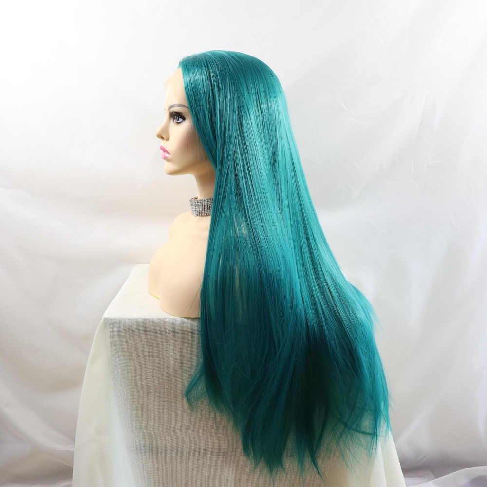 Marquesha peluca delantera de encaje sintético azul, pelucas de fibra de Aspecto realista largas rectas resistentes al calor para mujeres