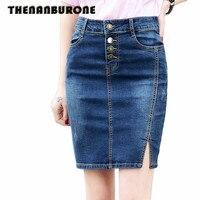 THENANBURONE S M L XL XXL 3XL 4XL 5XL 6XL 7XL Plus taille Nouvelle Arrivée Femmes Denim Jupes Femmes Crayon Jeans Avant Bouton Jupe