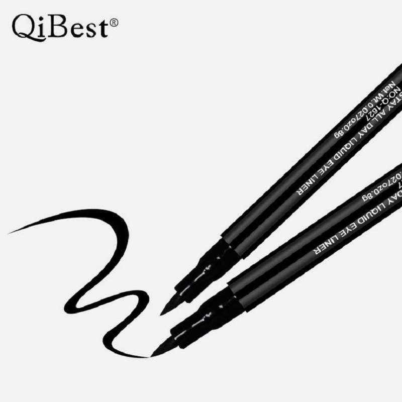 QiBest Professional Waterproof Eyeliner Pencil Long-lasting Delineador Black Eye Liner Pen Thin Lines Cosmetics Quick-dry Makeup