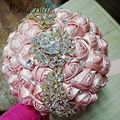 Luxury Brooch Bridal Bouquet Wedding Bouquet Crystal Bride Flower Artificial Diamond Boeket Custom Purple Ivory Red Pink