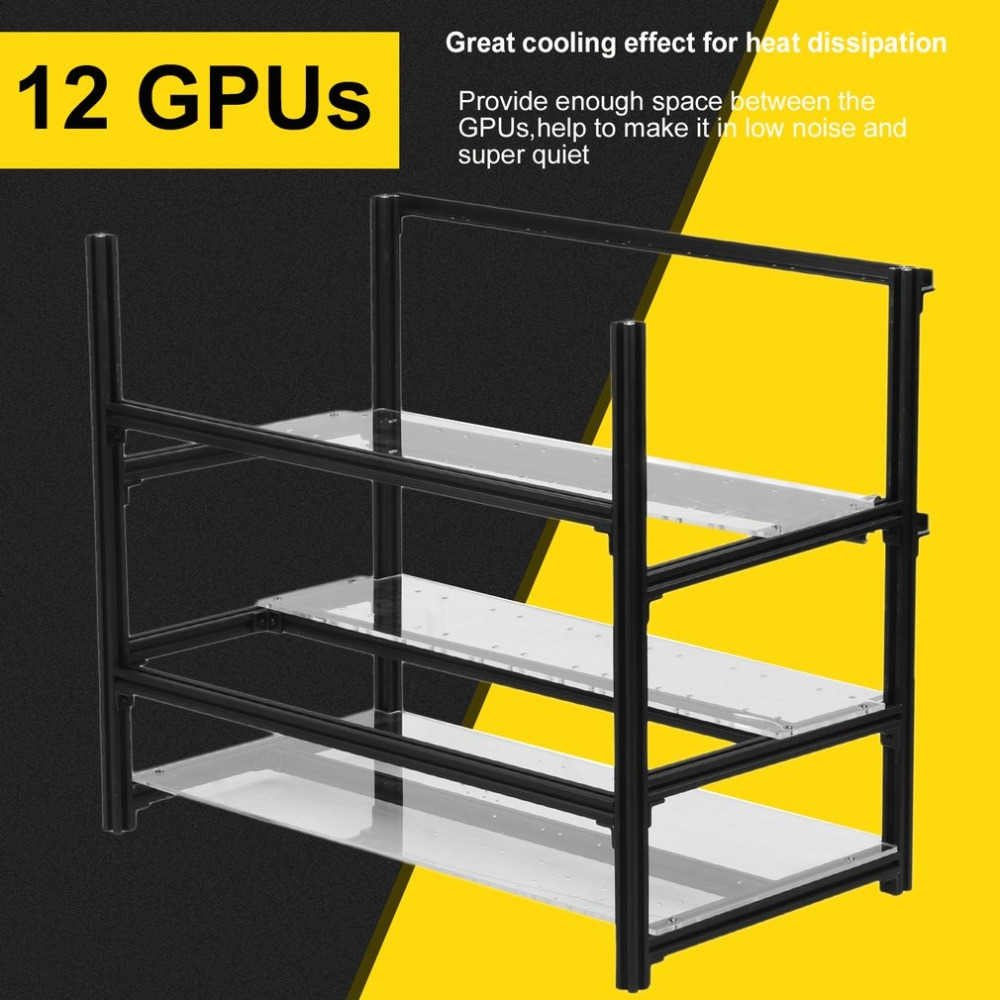 Professional Open Air Stackable Mining Rig Case Frame Support Up To 12 GPU Miner Rack Bracket