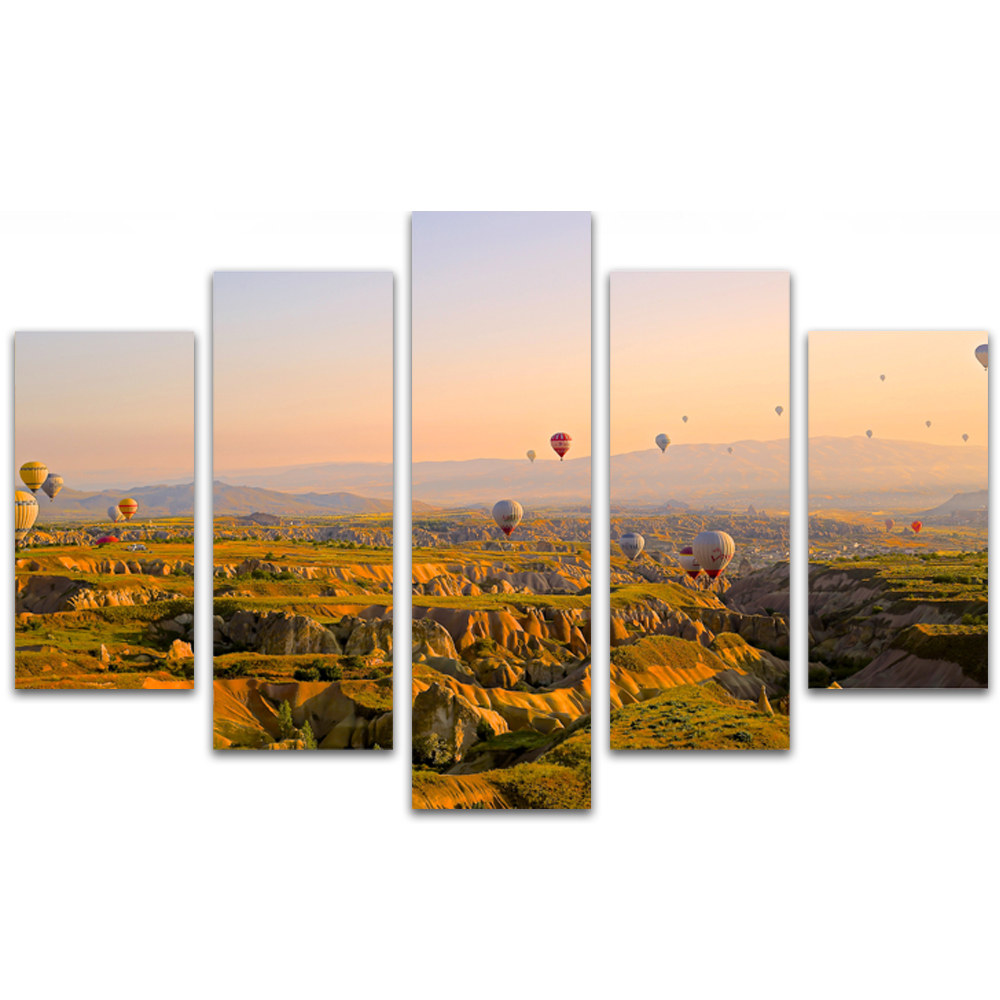 Unframed Canvas Painting Hillside Sky Hot Air Balloon Photo Picture Prints Wall Picture For Living Room Wall Art Decoration