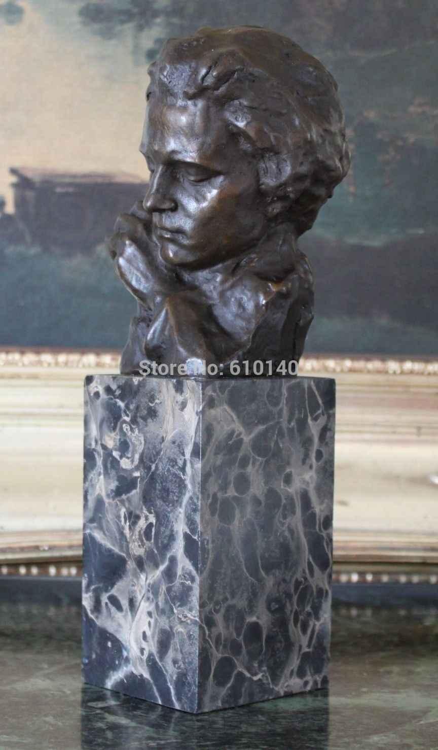 Professor de Piano Pianista Compositor Beethoven Música Músico Bronze Estátua de Mármore Arte