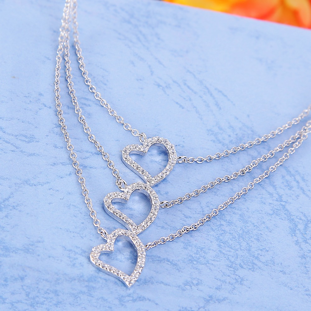 Bella Bridal Necklace 925 Sterling Silver Cubic Zircon Cascade Love Heart Pendant Necklace For Wedding Jewelry Valentine's Gift bella fashion 925 sterling silver lucky horseshoe bridal necklace cubic zircon pendant chain necklace for wedding party jewelry