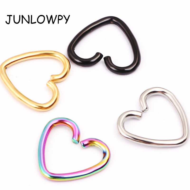 JUNLOWPY 1pcs Titanium Anodized Daith Heart Ear Helix Tragus Cartilage Piercing Lip Nose Rings Body Jewelry 16g Nose Ring