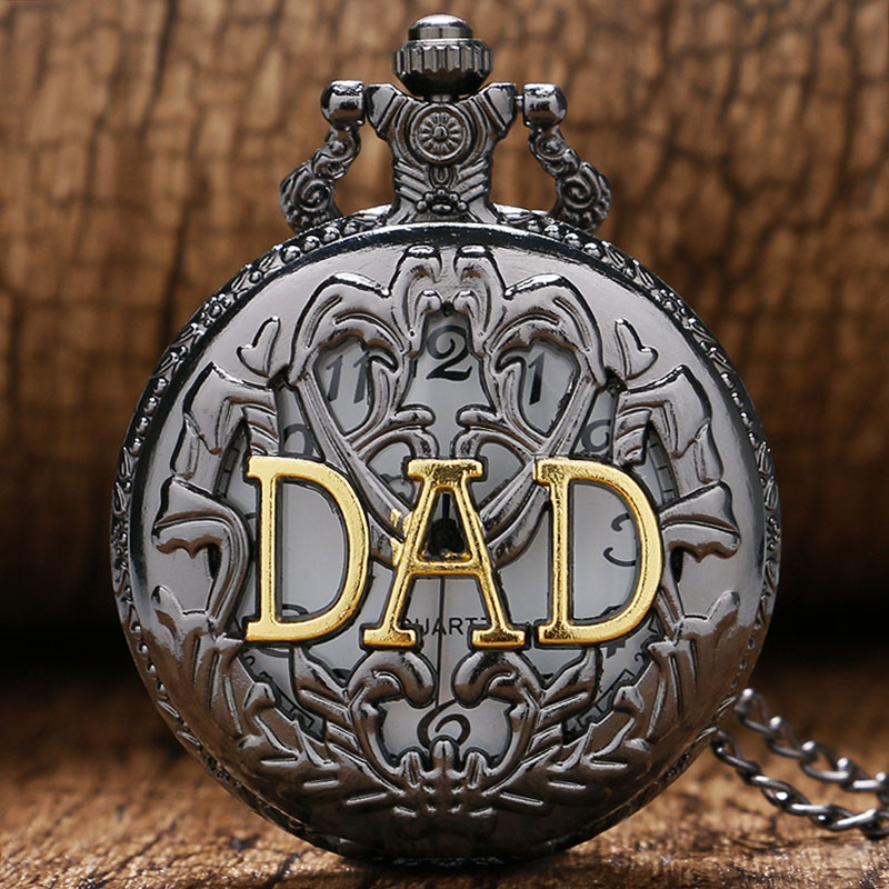 Fashion DAD Design Cool Blacek Hollow Case Necklace Pendant Pocket Watch Gift To Men Father Dad