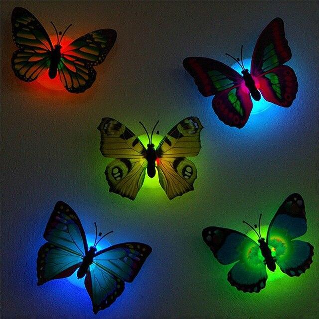Color Changing Led Erfly Night Lights Cute Nightlight Portable Bathroom Best Decorative Lamp Luminaria Room Indoor