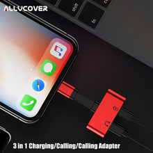 ФОТО allvcover 2 in 1 charging audio adapter for iphone 7 8 plus x ios charger splitter earphone jack cable for lightning adapter