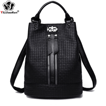 Fashion Anti Theft Backpack For Ladies Soft Leather Backpack Women Shoulder Bag Large School Bags For Teenage Girls Mochila fashion genuine leather bag women weaving style bags girls school bags zipper shoulder women s back pack girls bag mochila