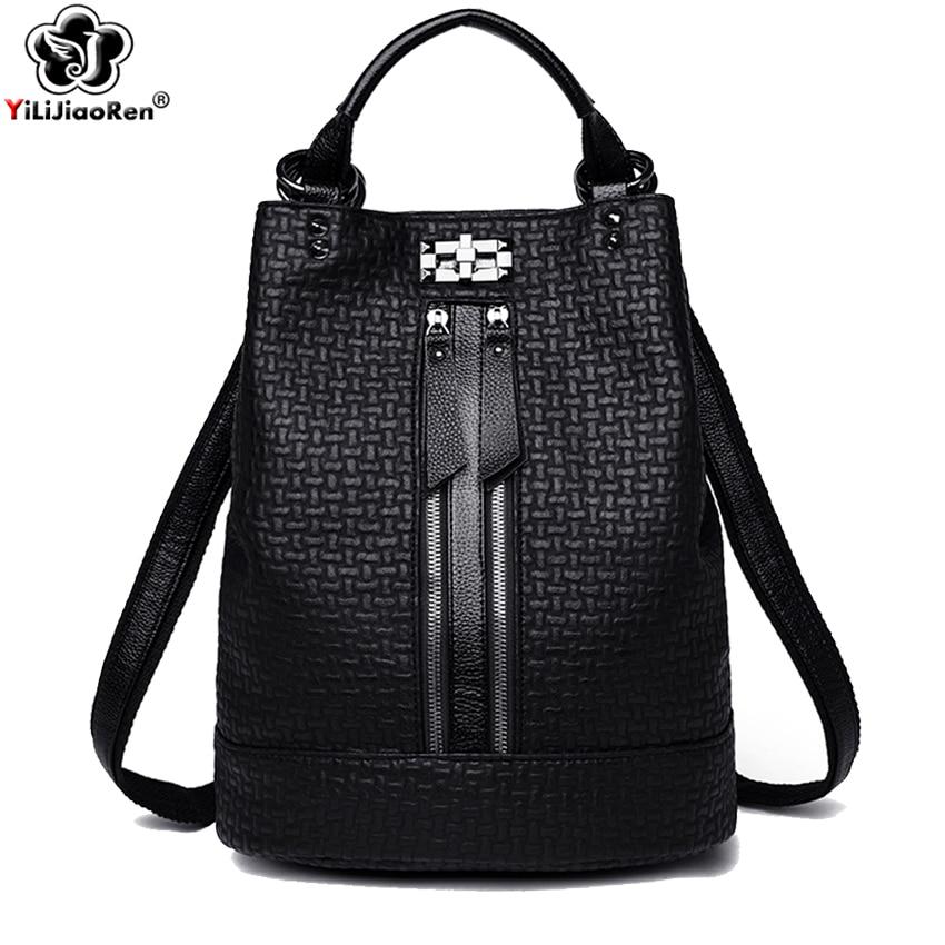 Fashion Black Backpack For Women Soft Leather Backpack Women Large Backpack Shoulder Bag Female School Bag For Girls Mochila Hot