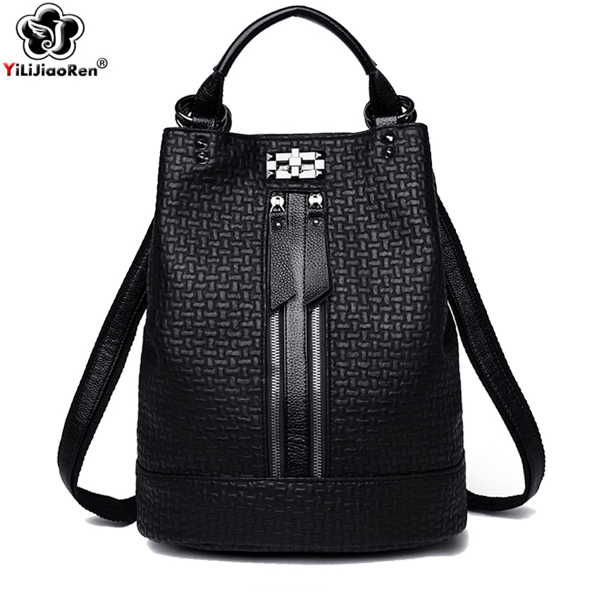 Fashion Black Backpack for Women Soft Leather Backpack Women Large Backpack Shoulder Bag Female School Bag for Girls Mochila Hot in Backpacks from Luggage Bags