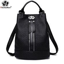 Fashion Black Backpack for Women Soft Leather Large Shoulder Bag Female School Girls Mochila Hot