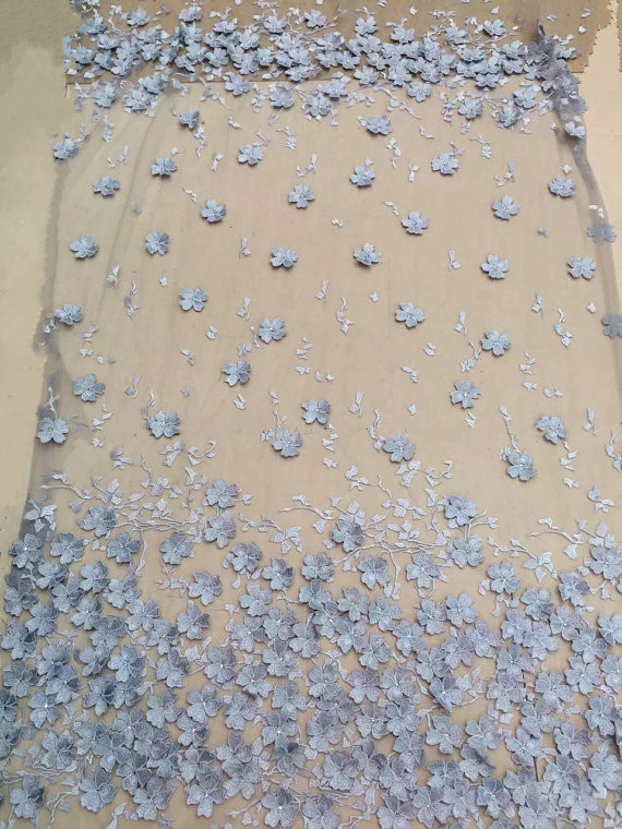 1 Yard Light Blue Embroidered Lace Fabric With 3d