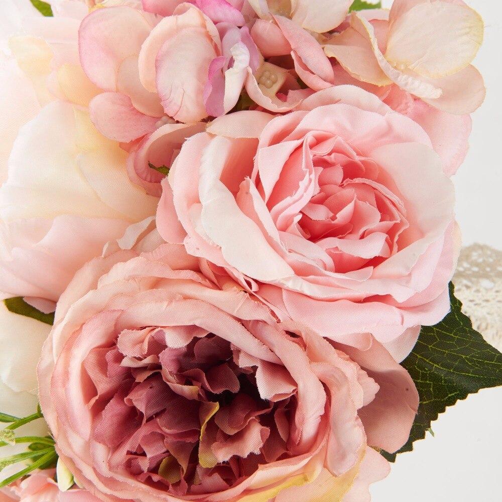 Dressv Silk Flower Pink Bouquet Wedding Flowers Bridal Vintage ...