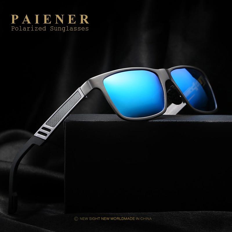 PAIENER Alumínio Óculos Polarizados Homens Espelho Óculos De Sol dos homens  Óculos de Sol Quadrado Goggle Eyewear Acessórios Para Homens Das Mulheres  do ... b4f7f0c343