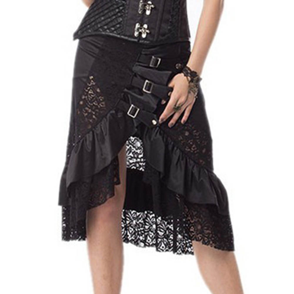 Rosetic Gothic lace skirt high waist women retro sexy summer skirt plus size patchwork black green ruffle Vintage skirt 2018 new