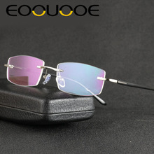 Aluminum Eyewear For Men Metal Gold Gary Silver MyopiaTransparent Clear Lens Spectacles Rimless Glasses Frame