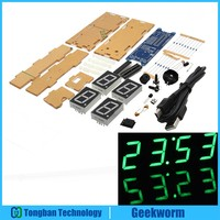 DIY EC1621 DS3231 Rotation LED Electronic Clock Acrylic Shell Kit Green