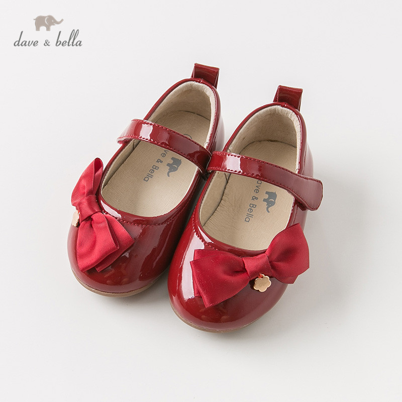 DB10951 Dave Bella Spring Autumn Baby Girl Leather Red Bow Shoes Children Brand Shoes