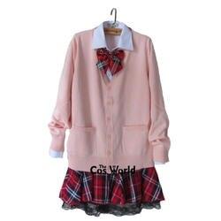 Консервативный стиль студенческий класс Униформа Япония JK школьная форма зима розовый v-образный вырез кардиган красная клетчатая юбка
