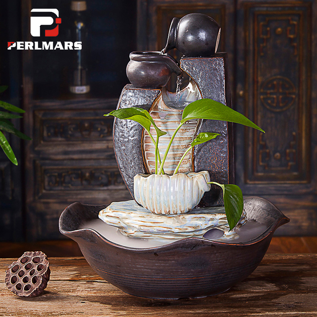 110 220V Vintage Coarse Pottery Water Fountain Decor Bedroom Mute  Humidifier Living Room Water Feature