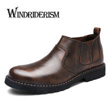 WINDRIDERISM 2017 New Fashion Men Ankle Boots Genuine Leather Sewing Warm Winter Boots Handmade Short Plush Fur Boot Shoes