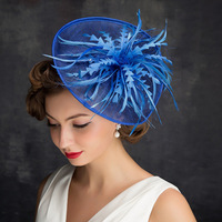 A New Blue hat British hat bridal headwear netting a feather net hat and a simple head wear