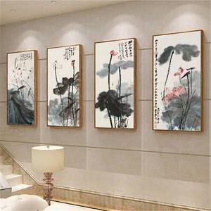 Image 4 - Китайская живопись чернилами Печать холст Чжан дацянь художественные работы цветок лотоса Плакаты HD печать Настенная картина для гостиной украшения