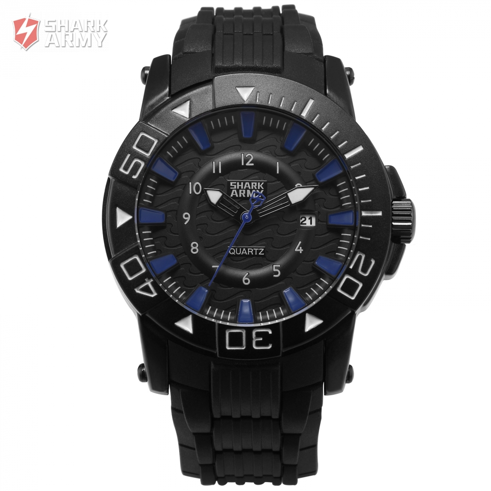 Shark Army Sport Watch Men Clock Quartz Gift Black Case Rubber Band Date Display Water Resistant Saat 3 ATM Box Watch/ SAW213 рюкзак case logic 17 3 prevailer black prev217blk mid