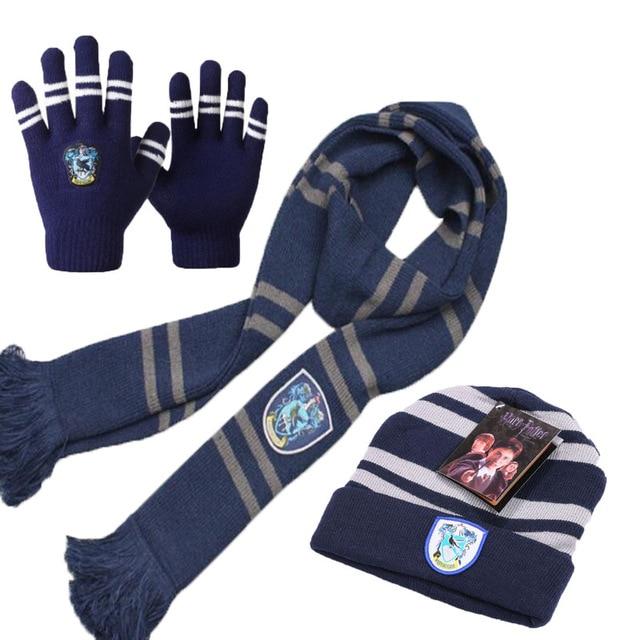 Хэрри Поттер Костюм Косплей серия шарф шарфы сенсорные перчатки шляпа Гриффиндор/Слизерин/хаффлпуф/Ravenclaw детский подарок - Цвет: Ravenclaw