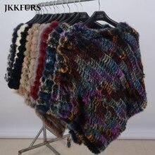 Женское Вязаное пончо с натуральным кроличьим мехом, Модная стильная зимняя Осенняя теплая меховая шаль, Женская качественная накидка S1071S