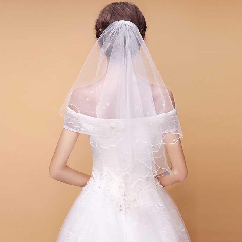 Frauen Perle Braut Schleier Brautkleid Schleier Schichten Tüll-Band-Rand Hochzeit Zubehör