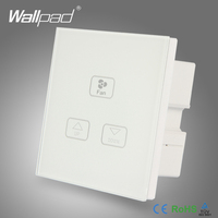 Ceilling 3 Gang Fan Switch Wallpad White Crystal Glass Switch 3 Gang Fan Speed Dimmer Regulator