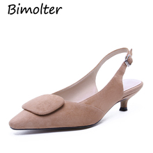 Bimolter Pointed Toe Strap Sandals Sheep Suede  Thick Low Heels Slingback Shoes For Women Lady Retro Classic Casual Shoes NC110 pointed toe suede slingback flats