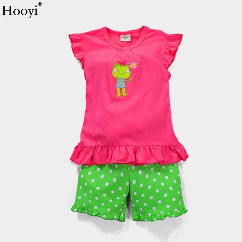 7b408ad52 Detail Feedback Questions about Hooyi Summer Girls Pajamas Suit Frog ...