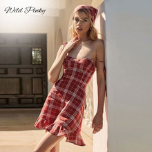 WildPinky Summer Spaghetti Strap Dress Women Fashion New Sexy Sleeveless Plaid Club Party Casual Holiday Beach Dresses Vestidos