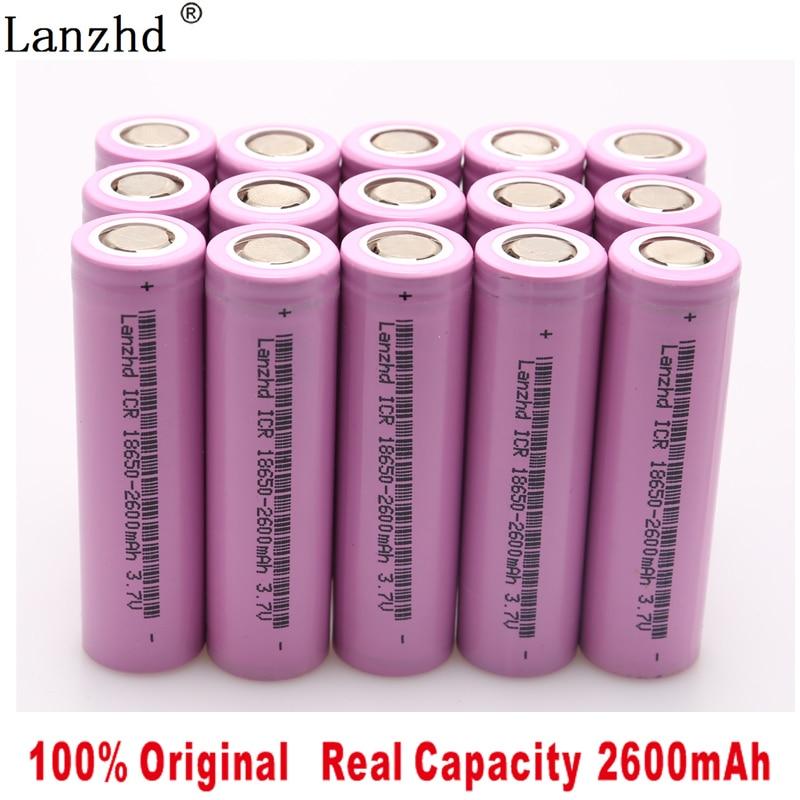 100 original 18650 3 7V 2600MAH Li ion rechargeable 18650 battery for samsung batteries For toys tools flashlight 10 40pcs in Rechargeable Batteries from Consumer Electronics