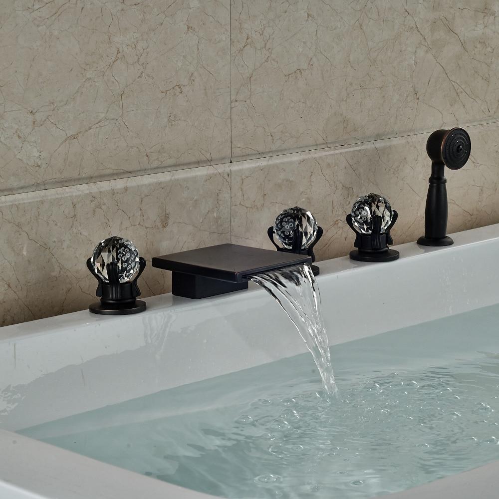 Modern Square Waterfall Spout Bathroom Tub Faucet Crystal Handles W/ Hand Shower Sprayer