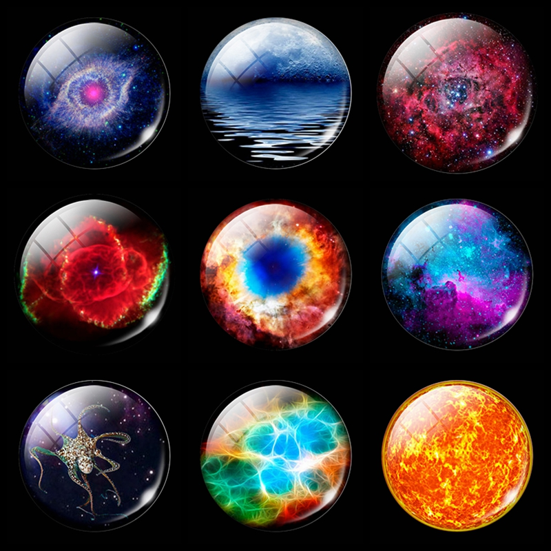 Romantic Nebula Refrigerator Decorative Magnetic Stickers 30mm Luminous Space Universe Glass Fridge Magnet Whiteboard Message in Fridge Magnets from Home Garden