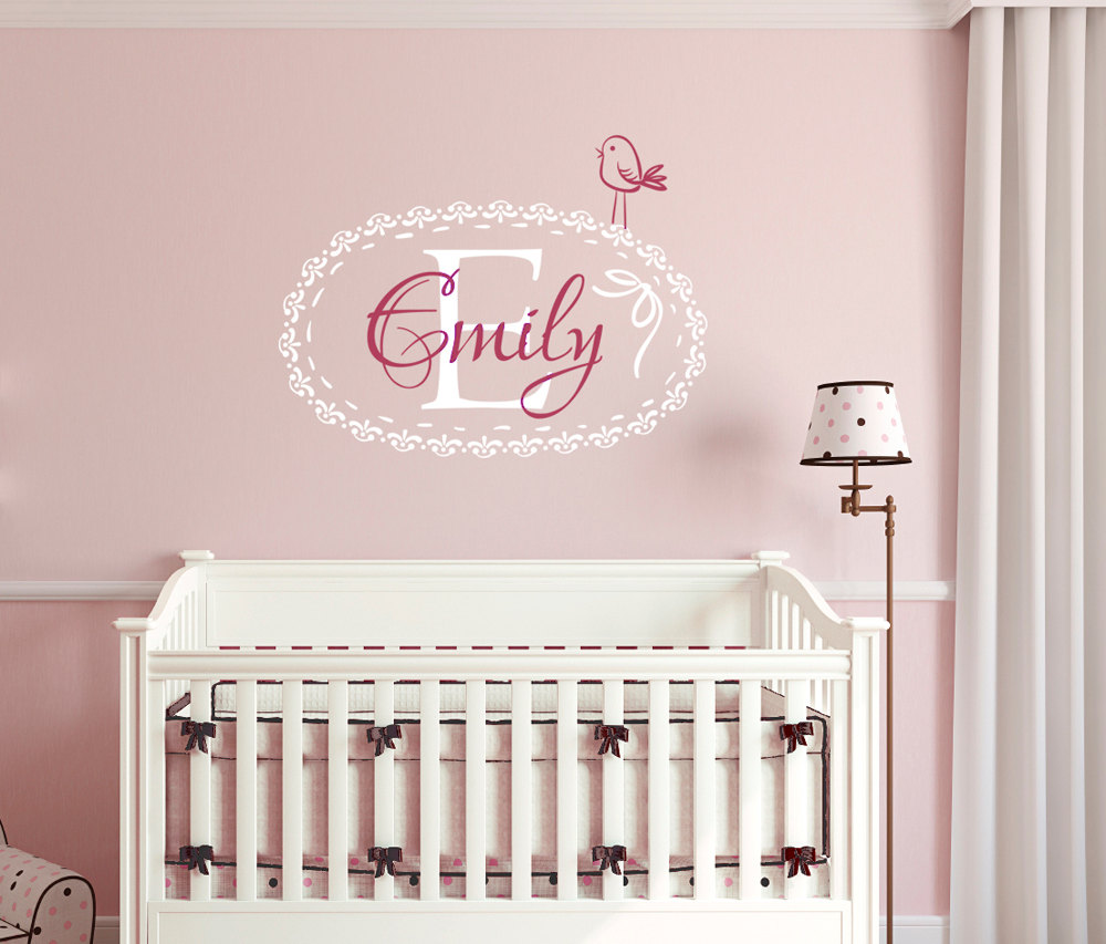 Cute Floral Frame Wall Stickers Removable Baby Nursery Wall Art Decals Personalized Name and initial Home Decor Kids Room ZA260