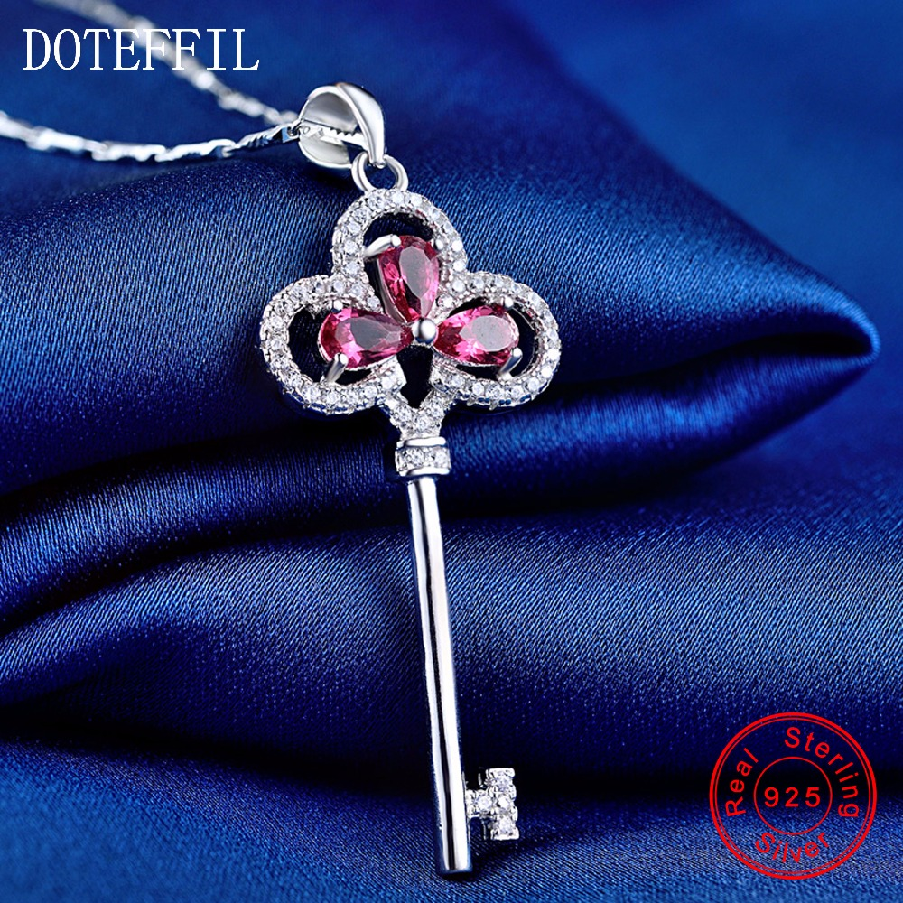 New Arrivals 925 Silver Necklace Woman AAAA Quality Zircon Key Pendant Necklace Fashion Charm Silver Necklace hot sales 925 silver necklace charm woman man 50cm silver 6mm full sideways necklace fashion brand jewelry