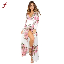 Feitong повседневное пляжное платье Для женщин летнее платье Boho Цветочные Длинные платья макси модные шифоновые платья Сарафан 2017 халат # Q