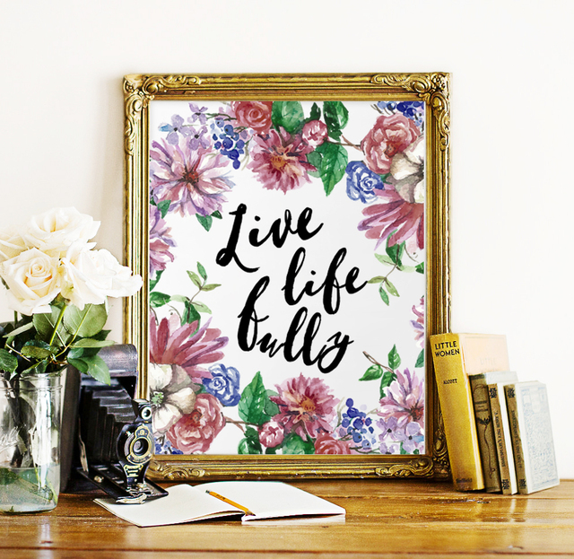 floral life quote canvas art print poster wall pictures for home