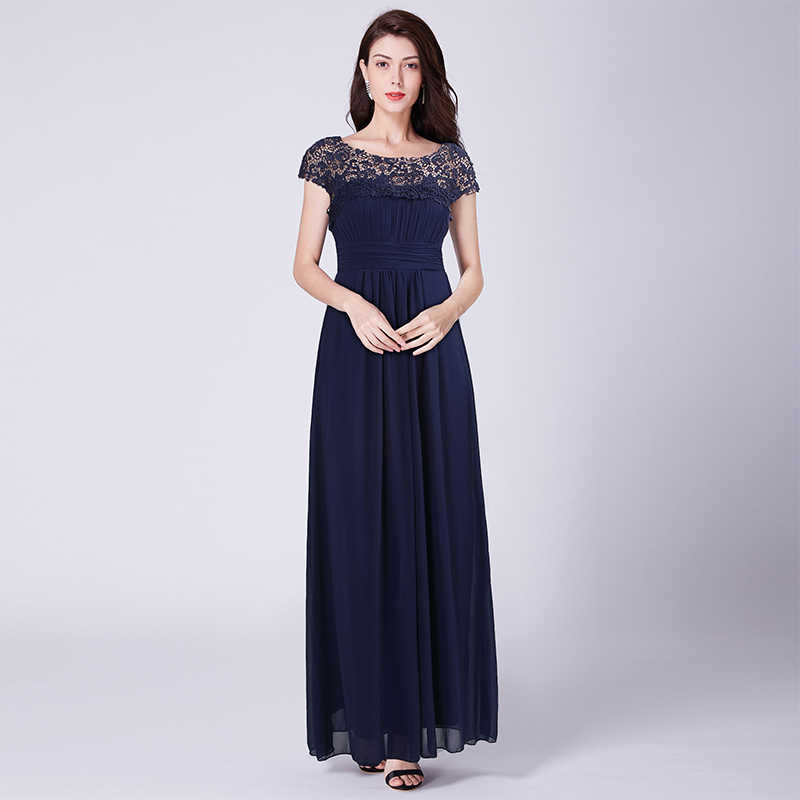 Plus Size Evening Dresses Long Appliques Pleated Chiffon Abendkleider  Elegant Cheap EB23999 Open Back Lace robe b37474eac1a7