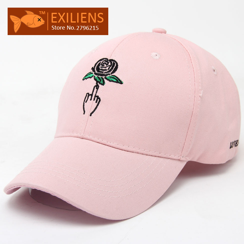 [EXILIENS] 2017 Fashion Brand Baseball Cap Cotton Rose Sunscreen Snapback Caps Strapback Hip-hop Hats For Men Women Fitted Hat 2016 feammal new rose floral embroidered casquette polos baseball caps cotton strapback black pink rose for women sport cap