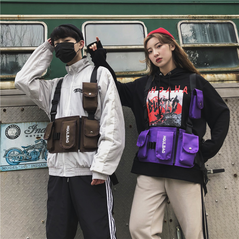 BXX Sac 2019 Luxury Designer Tide Brand Street Shooting Men And Women Tactical Second Level Vest Hip Hop Chest Bag Pocket ZD596(China)